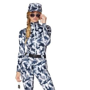 Women's snow soldier camo costume, worn once